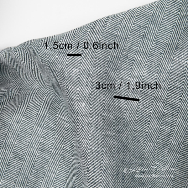 Herringbone pattern linen fabric with measurements