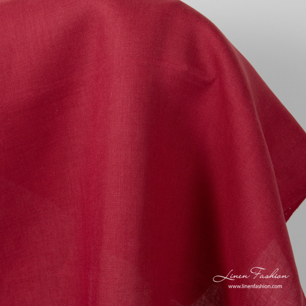 Red pure linen fabric, panama weave