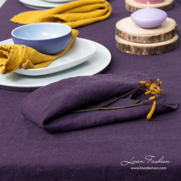 Pure linen napkin in purple color, washed