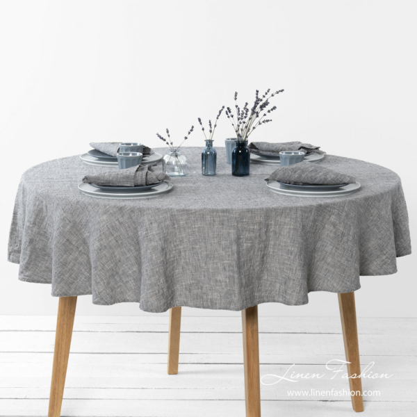 Washed linen blend dark grey round tablecloth