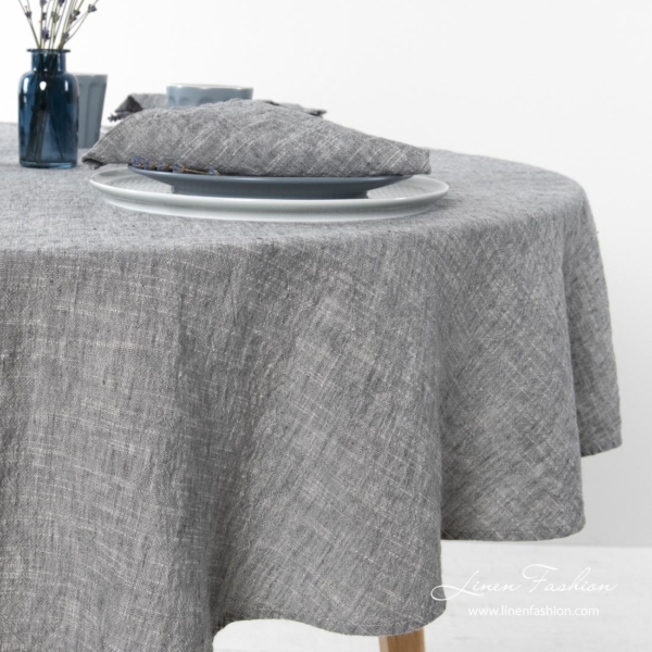 Washed round linen tablecloth in dark grey