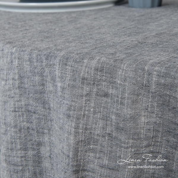 Round tablecloth made in dark grey and white melange colors