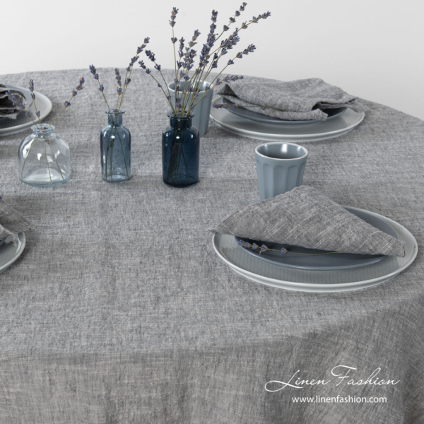 Washed dark grey tablecloth with matching napkins