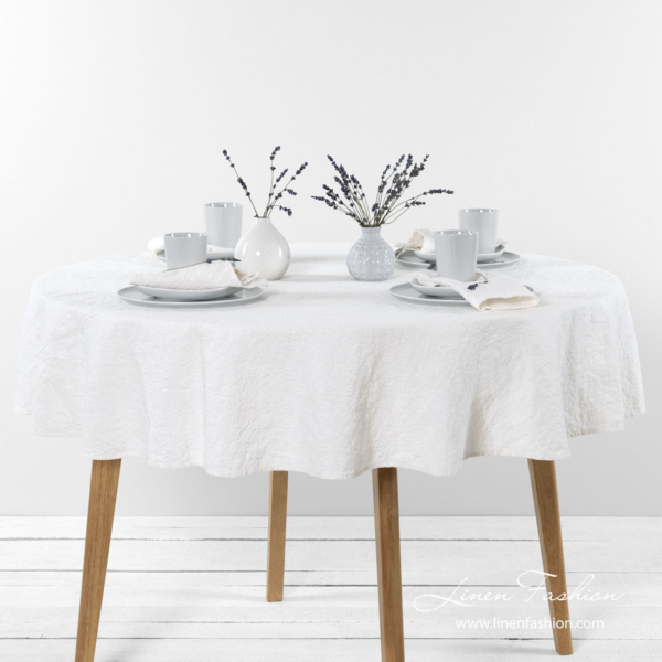 Washed linen cotton white round tablecloths
