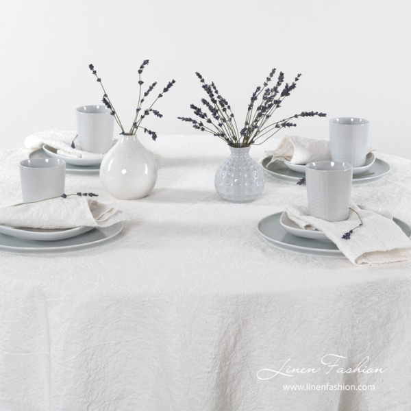 Washed off white linen cotton round tablecloth and napkins