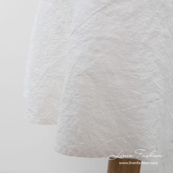 Washed linen blend white simple hemmed round tablecloth