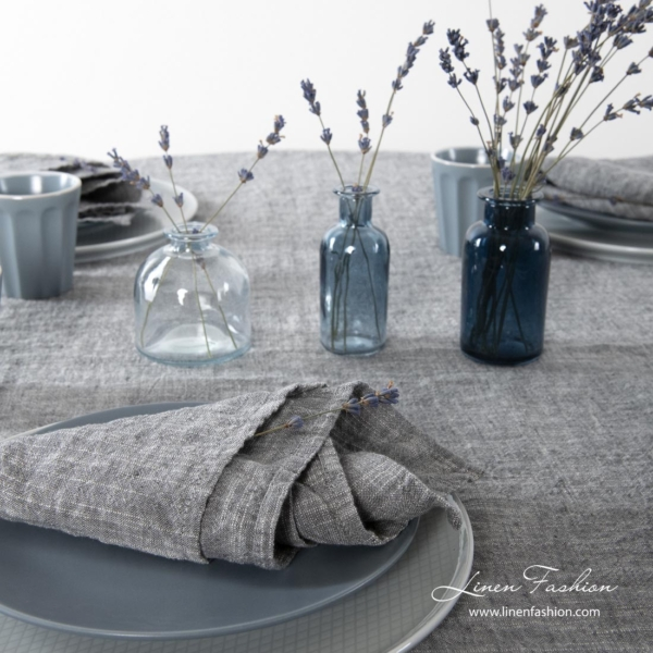 Washed linen cotton dark grey tablecloth and napkins