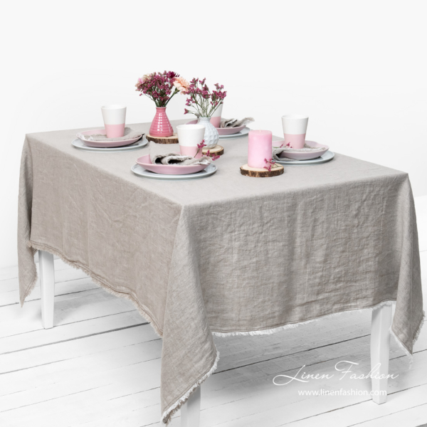 Washed linen light grey tablecloth with fringe