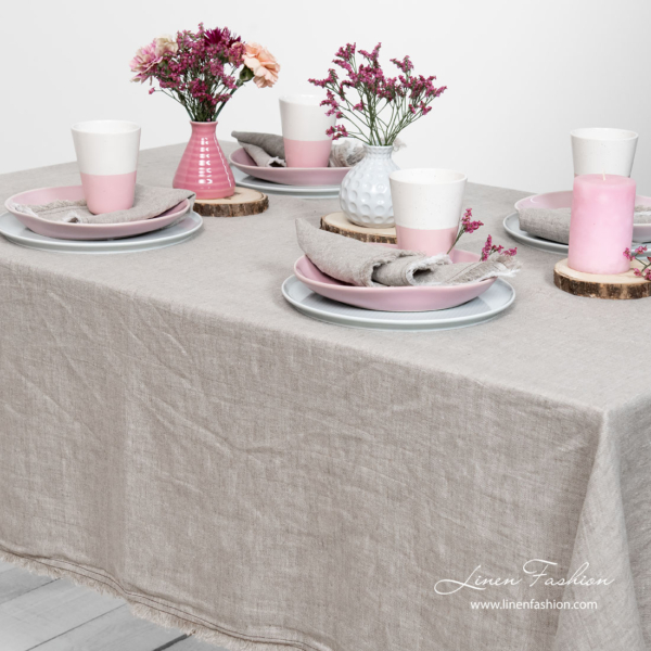 Washed linen light grey tablecloth with fringe and double stitch around