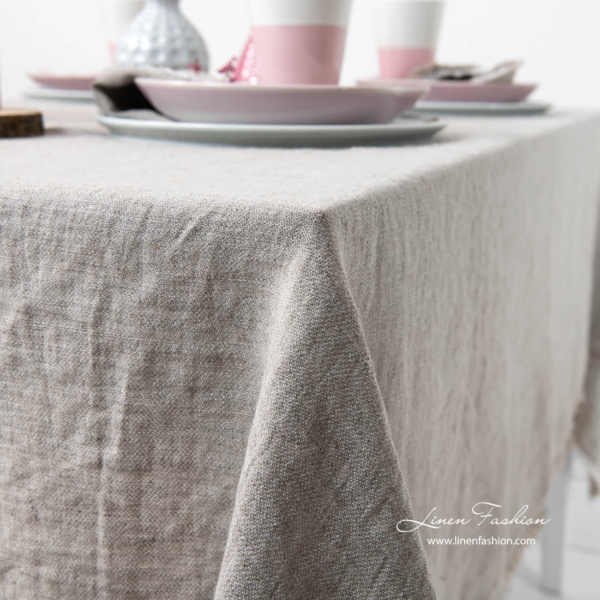 Washed light grey satin weave linen tablecloth