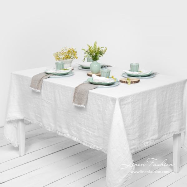 Washed linen white tablecloth with fringe
