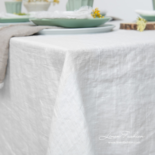 White satin weave linen tablecloth, washed