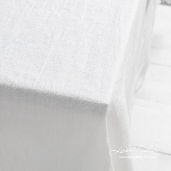 Washed linen tablecloth, off white color, satin weave