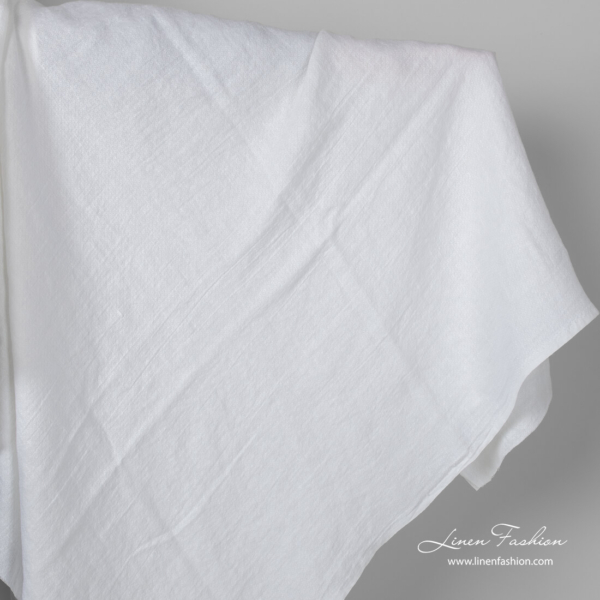 Bright white linen small square fabric, washed