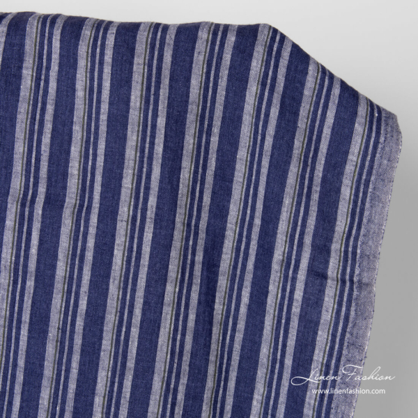 Linen fabric in vertical blue stripe, washed