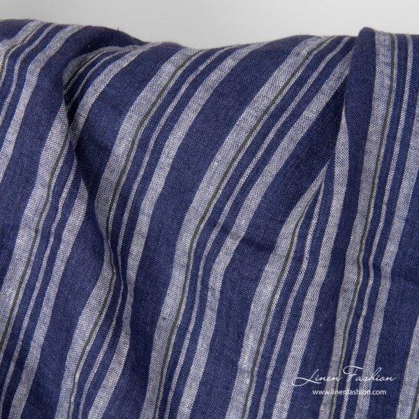 Vertical blue stripes, washed pure linen fabric