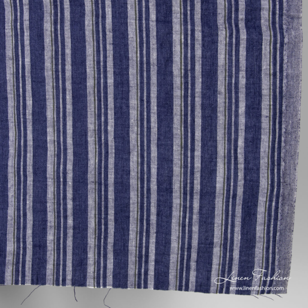 Washed linen fabric with blue and melange white blues stripes