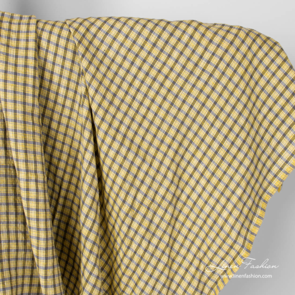 Washed linen fabric in yellow checks