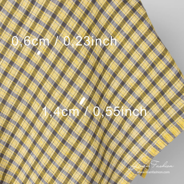 Washed linen fabric, yellow check size measures