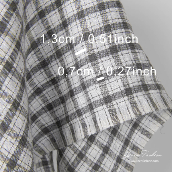 Washed linen fabric, dark grey check dimensions