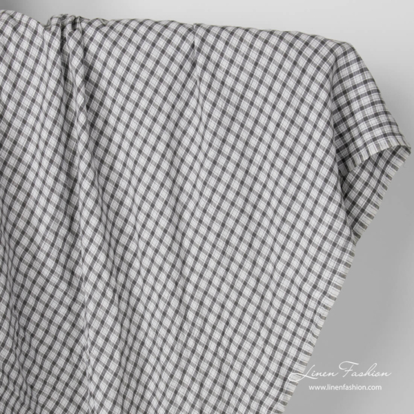 Pure linen dark grey check fabric, washed