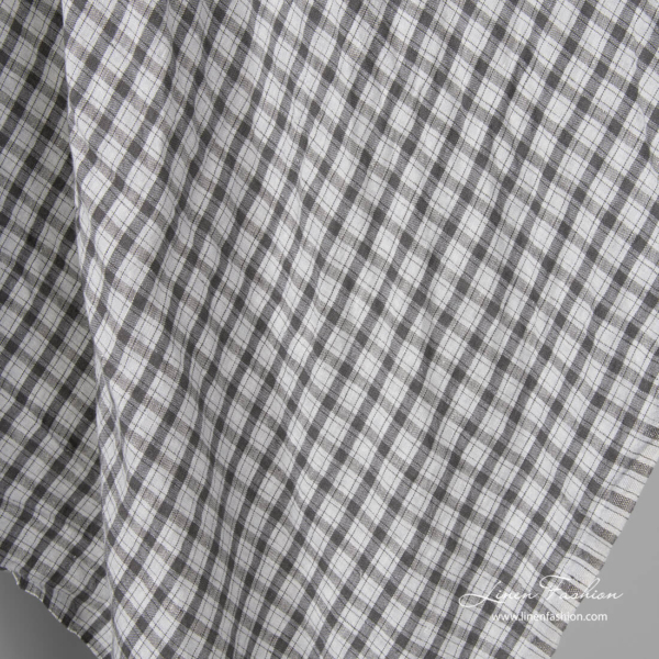 Washed light grey and dark grey check linen fabric