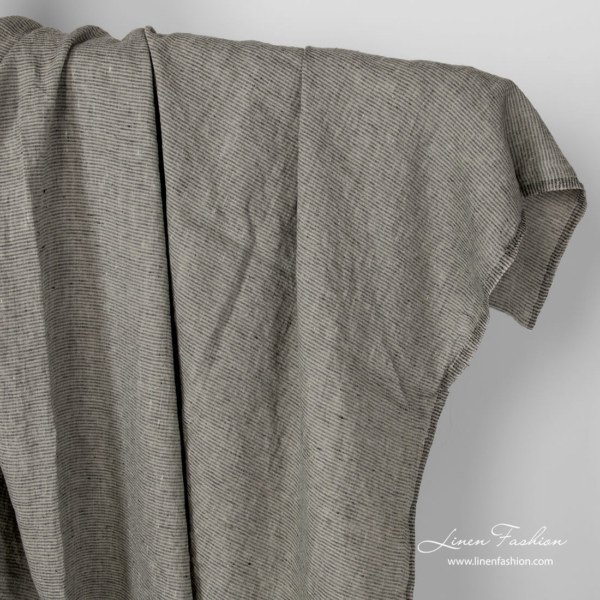 Washed linen grey and black pinstripe fabric