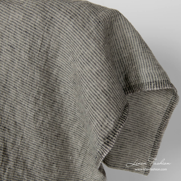 Black and grey stripes, washed linen fabric
