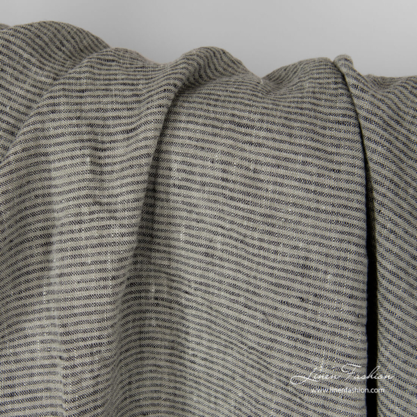 Washed pure linen fabric in grey and black stripes