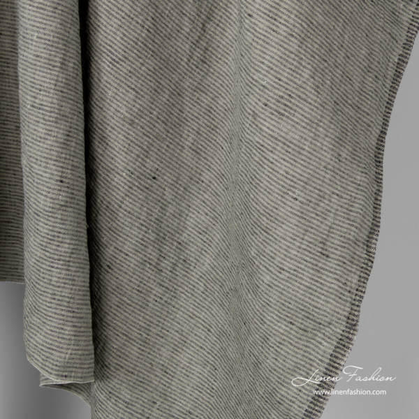 Grey and black pinstriped linen fabric, washed