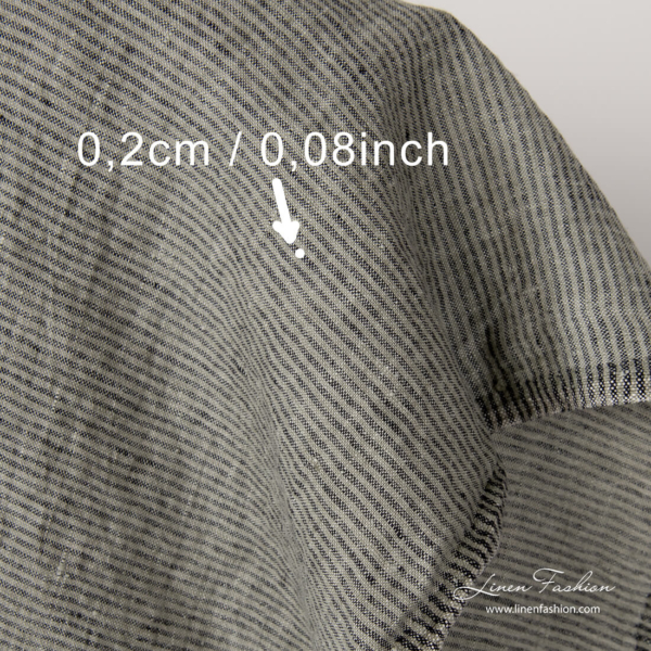 Narrow striped washed linen fabric