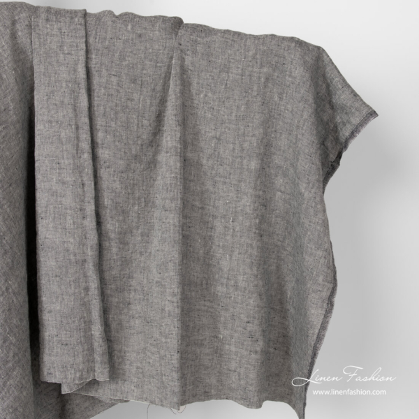 Linen grey black fabric, washed