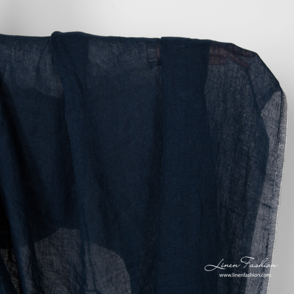 Transparent navy linen fabric, washed