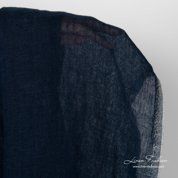 Gauze linen fabric in navy color, washed
