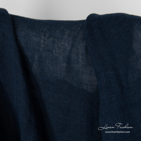 Navy linen fabric, open weave, washed