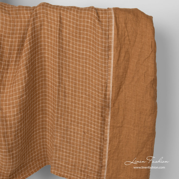Linen brown checked double layered fabric, washed