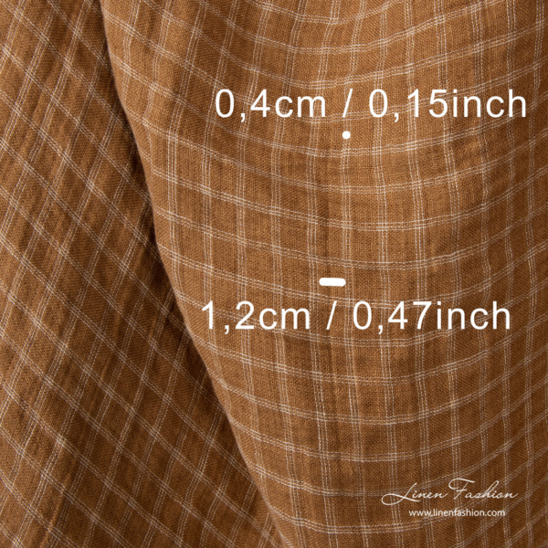 Washed linen fabric, brown with sand color check dimensions