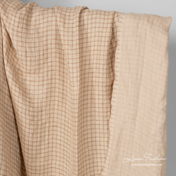 Washed linen double sided sand colour fabric