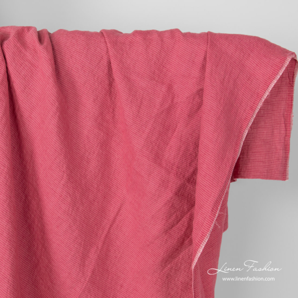 Washed linen striped raspberry pink fabric