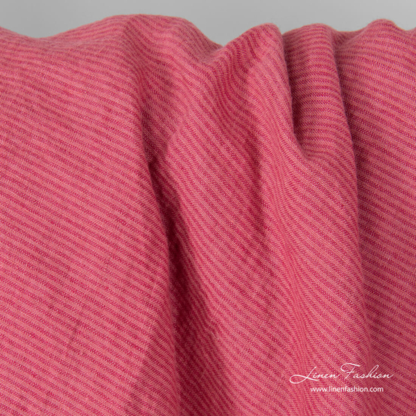 Linen fabric in thin pink stripes, washed