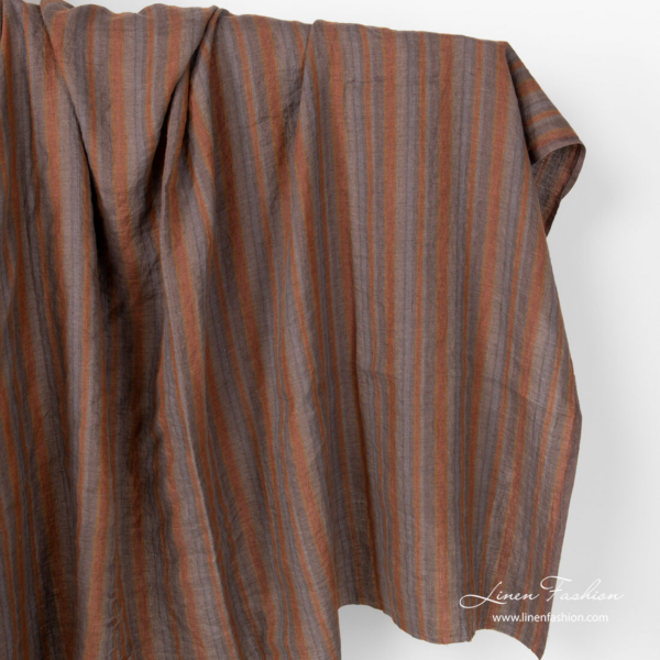 Washed linen fabric in brown grey color stripes