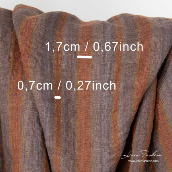 Grey and brown stripe dimensions of washed linen fabric