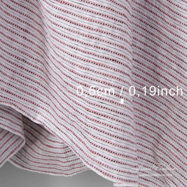Washed striped light grey linen fabric, measurements