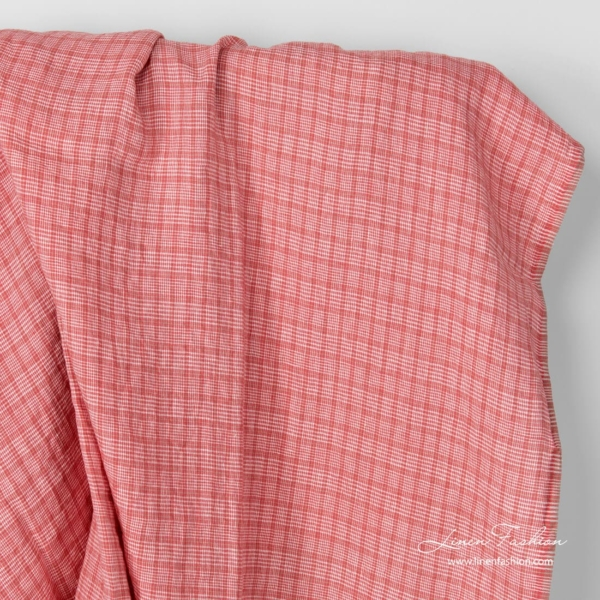 Washed linen fabric in rose squares and tiny white checks