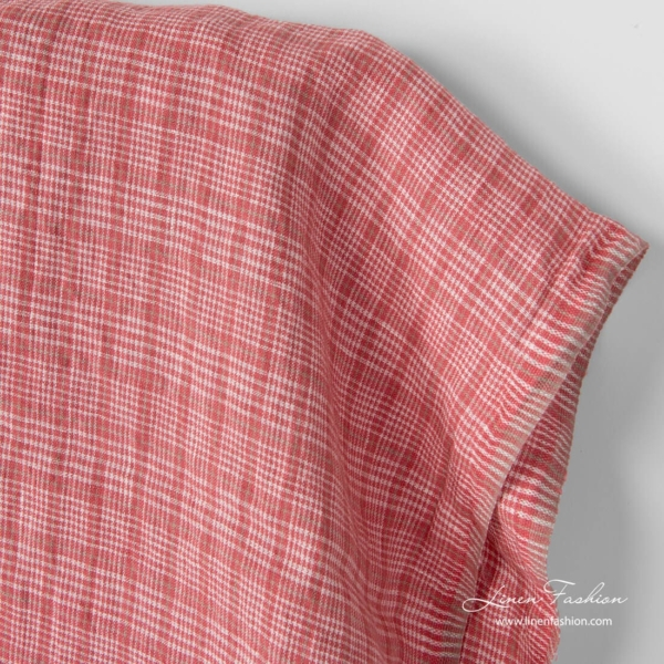 Checked linen fabric in rose squares and white checks, washed