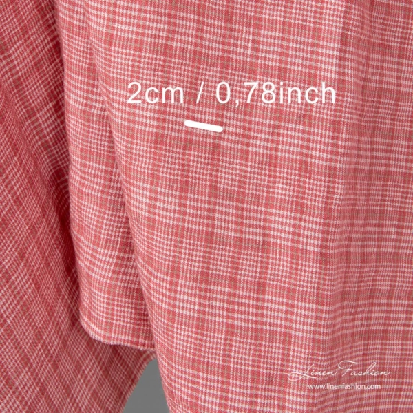 Washed checked linen fabric in rose squares, dimensions