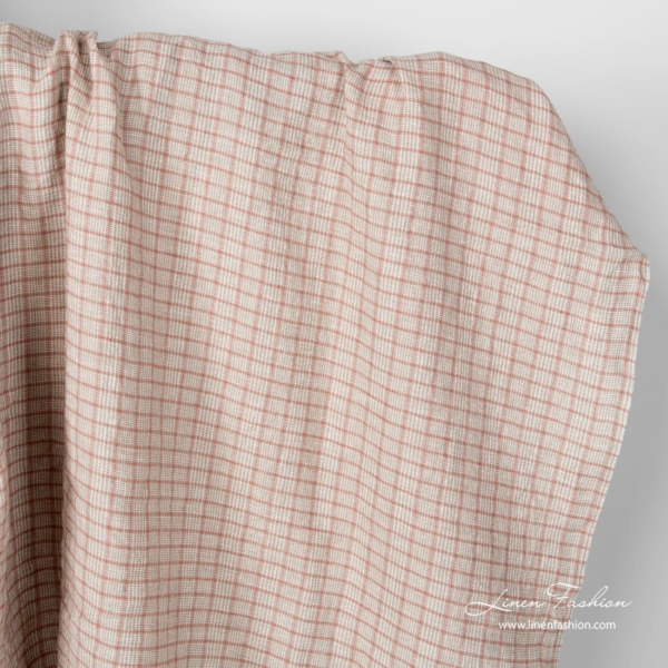 Linen fabric in grey squares and tiny white checks, washed
