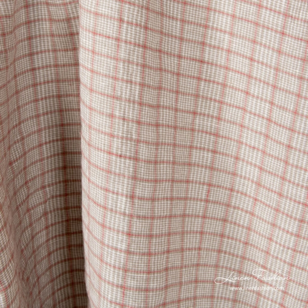 Washed linen fabric in grey, red, white checks