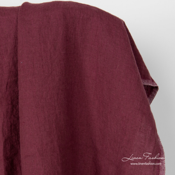 Burgundy linen fabric, washed