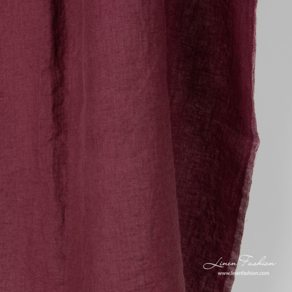Washed pure linen fabric in burgundy color
